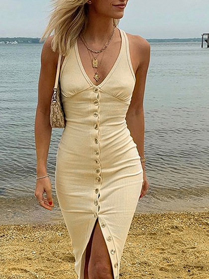 Beige V-neck Button Placket Front Sleeveless Bodycon Dress