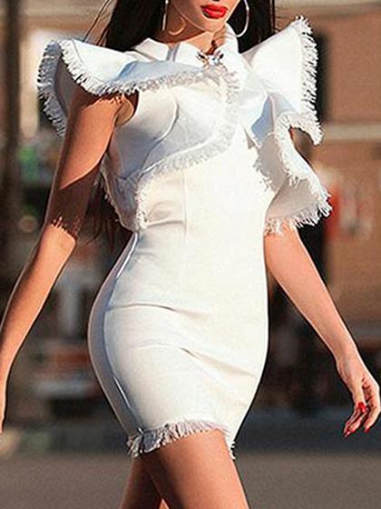 White Tassel Trim Ruffle Sleeve Mini Dress
