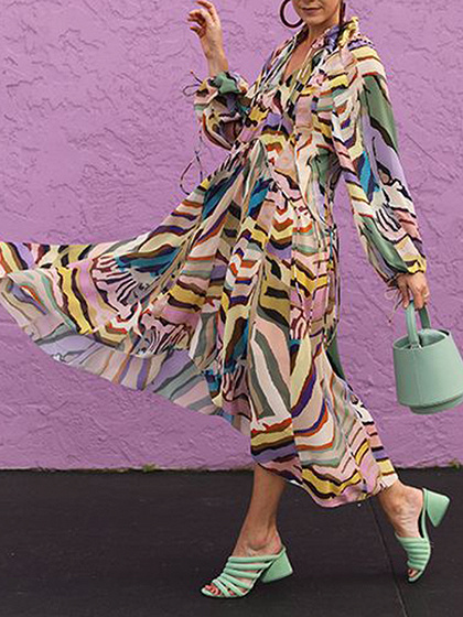 Polychrome Stripe Plunge Puff Sleeve Maxi Dress