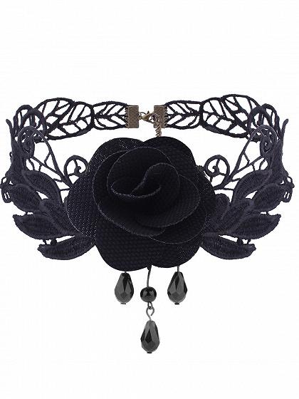 Black Floral Embellished Lace Necklace
