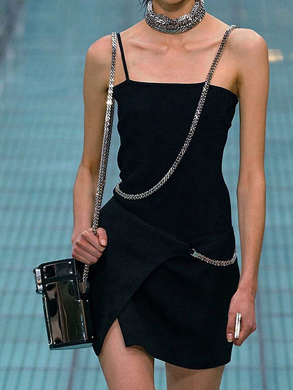 Black Chain Embellished Cami Mini Dress