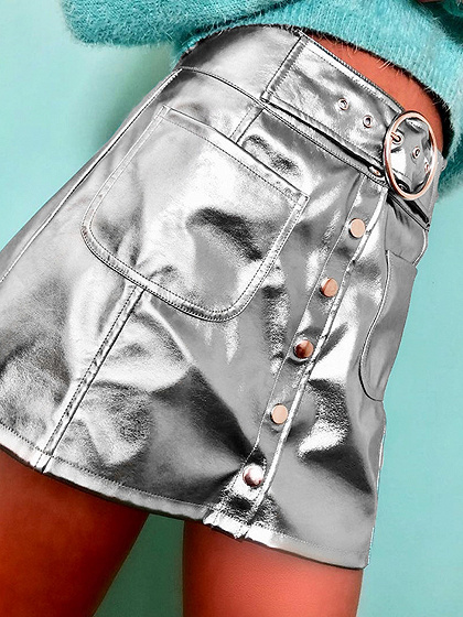 Silver High Waist Button Placket Front PU Mini Skirt