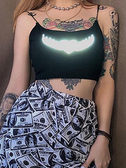 Black Reflect Light Print Crop Cami Top