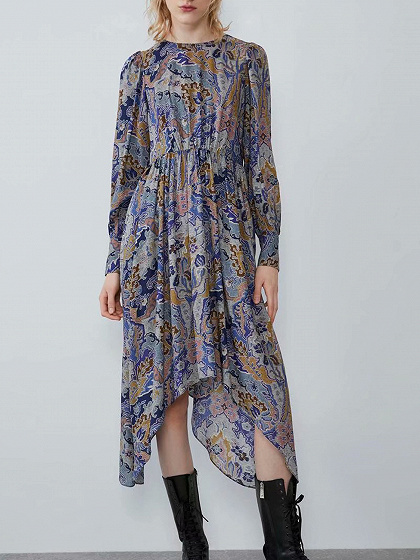 Blue Floral Print Puff Sleeve Midi Dress