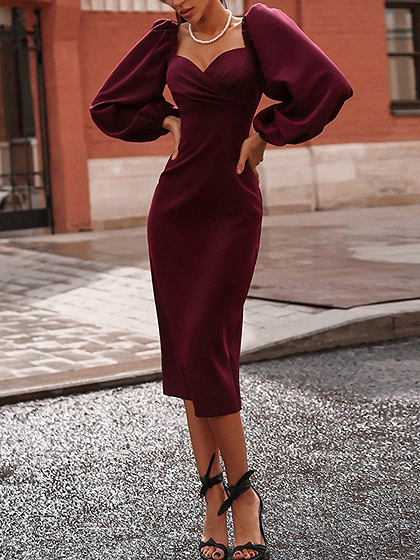 Burgundy V-neck Puff Sleeve Midi Dress