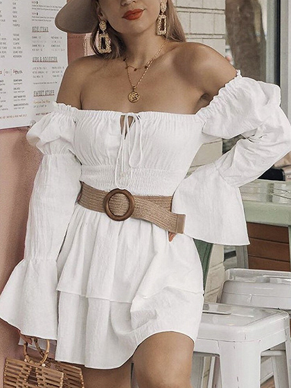 White Off Shoulder Double Layer Flare Sleeve Mini Dress