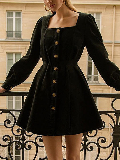 Black Corduroy Square Neck Long Sleeve Mini Dress