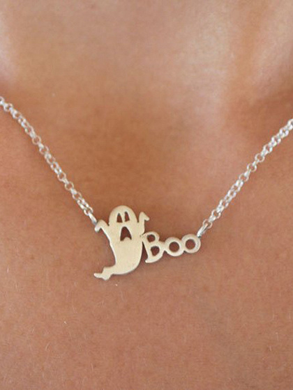 Silver Halloween Ghost Necklace