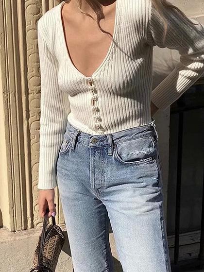White Ribbed V-neck Long Sleeve T-shirt