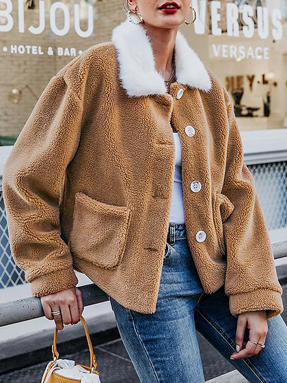 Light Brown Lapel Neck Long Sleeve Fluffy Jacket