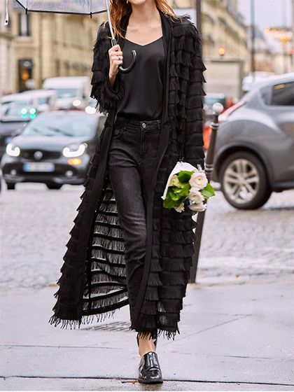 Black Tassel Trim Long Sleeve Longline Coat