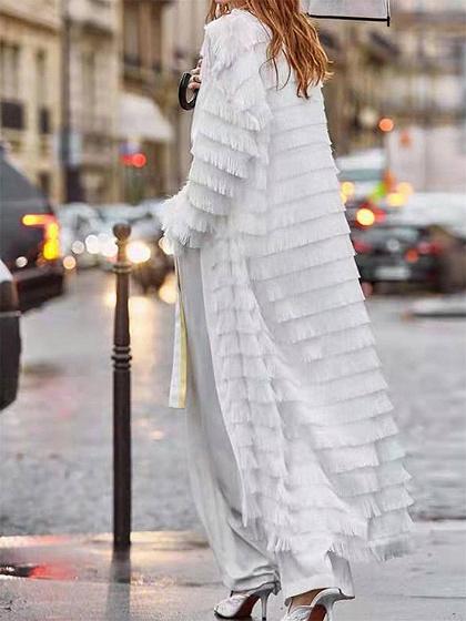 White Tassel Trim Long Sleeve Longline Coat