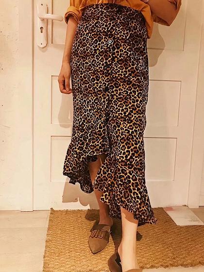 Brown High Waist Leopard Print Ruffle Trim Midi Hi-Lo Skirt