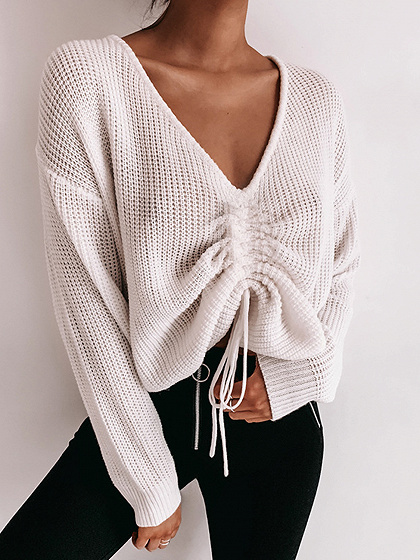 White V-neck Drawstring Front Long Sleeve Crop Sweater