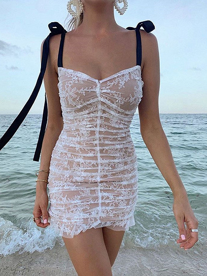 White Ruched Detail Cami Mini Dress