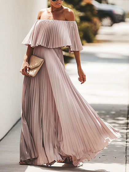 Pink Off Shoulder Pleated Detail Maxi Dress