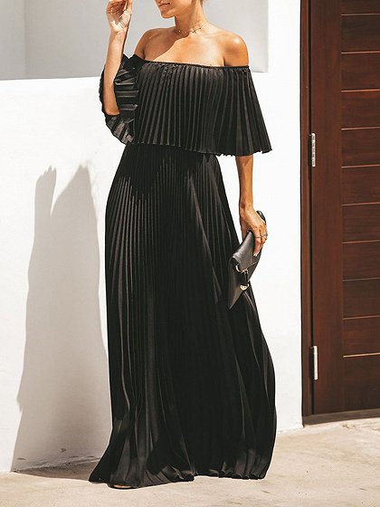 Black Off Shoulder Pleated Detail Maxi Dress