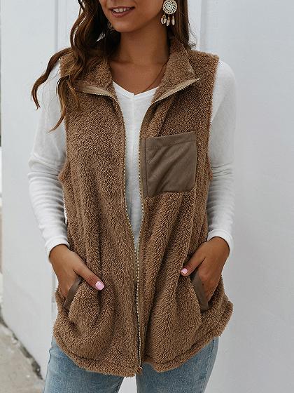Brown Lapel Neck Waistcoat