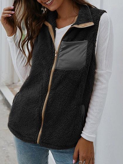 Black Lapel Neck Waistcoat