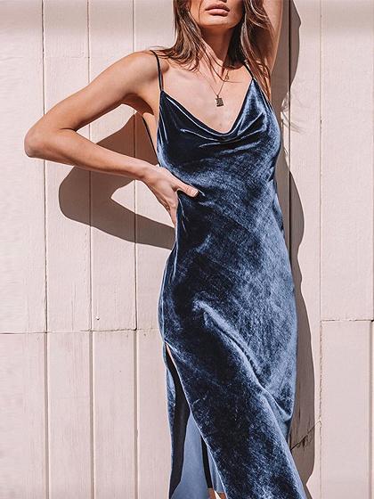 Dark Blue V-neck Open Back Cami Midi Dress