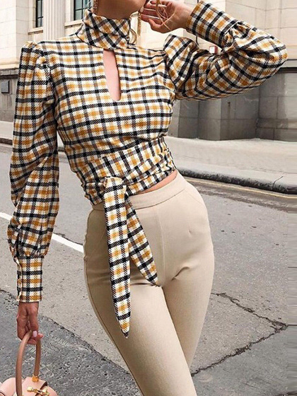 Yellow Plaid Open Back Puff Sleeve Blouse