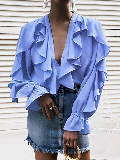 Light Blue Chiffon V-neck Ruffle Trim Long Sleeve Shirt