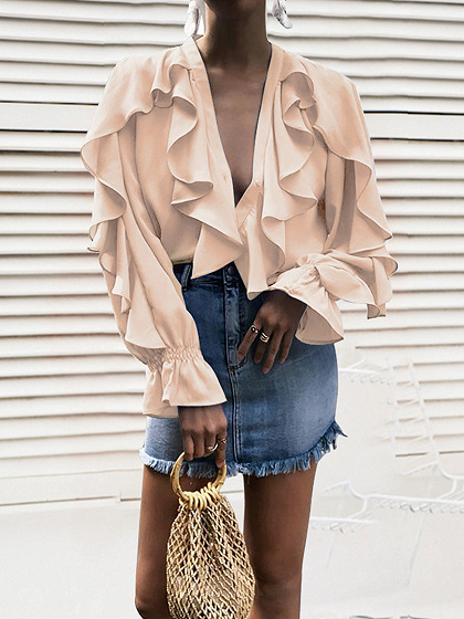 Beige Chiffon V-neck Ruffle Trim Long Sleeve Shirt