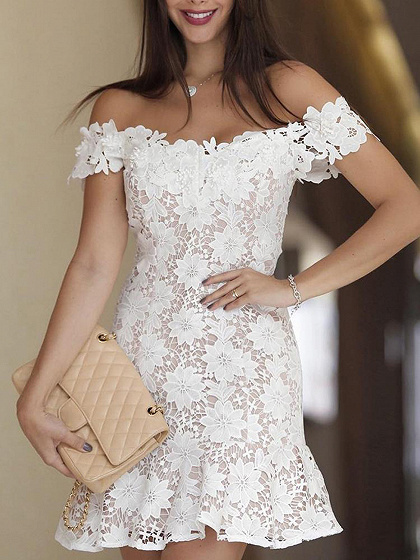 White Off Shoulder Ruffle Trim Lace Mini Dress