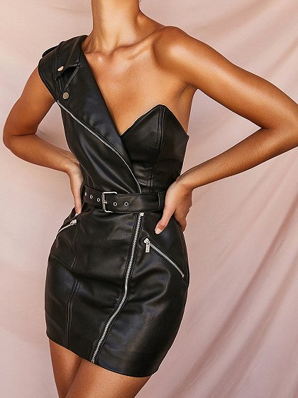 Black One Shoulder V-neck PU Mini Dress