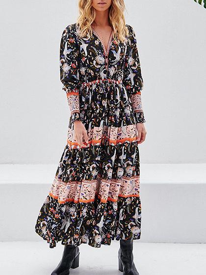 Black V-neck Floral Print Long Sleeve Maxi Dress