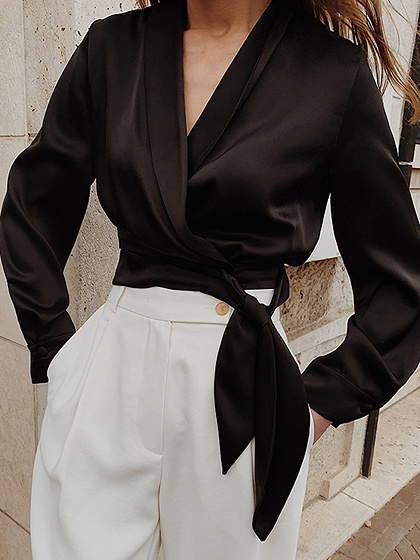 Black V-neck Tie Waist Long Sleeve Crop Blouse