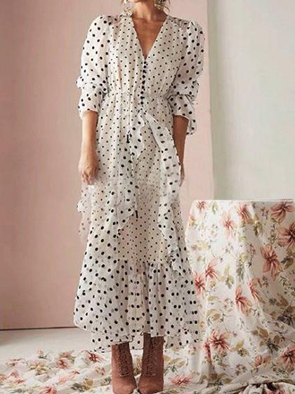White V-neck Polka Dot Print Puff Sleeve Maxi Dress