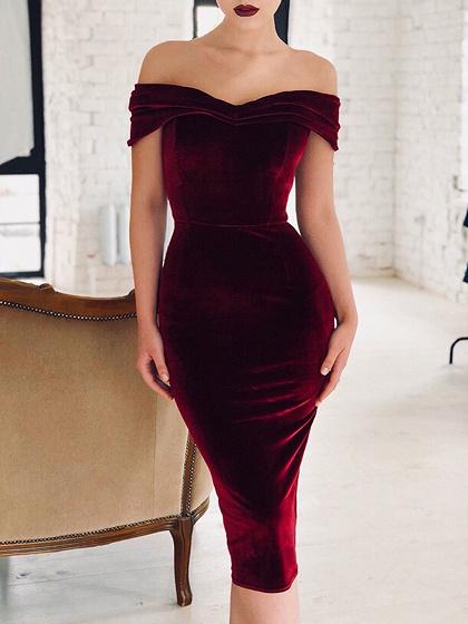 Burgundy Off Shoulder V-neck Bodycon Midi Dress