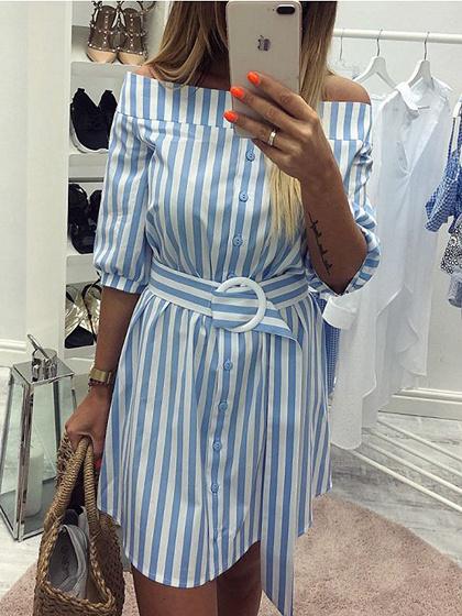 Light Blue Stripe Off Shoulder Buckle Strap Waist Mini Dress