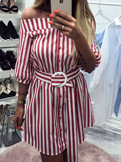 Red Stripe Off Shoulder Buckle Strap Waist Mini Dress
