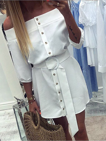 White Off Shoulder Buckle Strap Waist Mini Dress