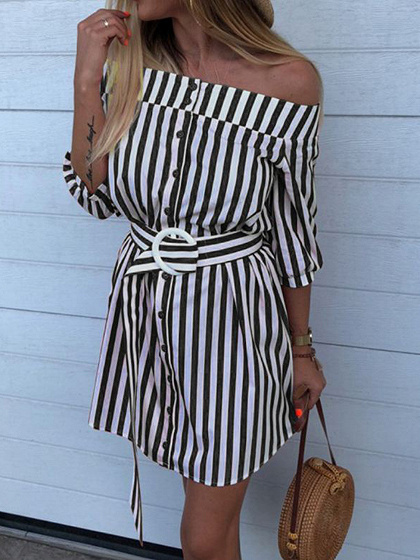 Black Stripe Off Shoulder Buckle Strap Waist Mini Dress