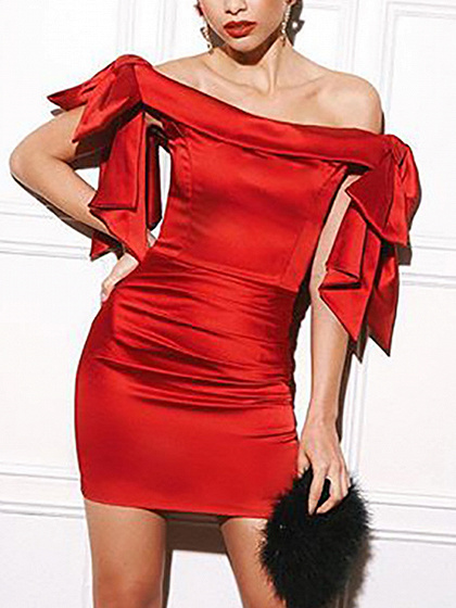 Red Off Shoulder Bow Tie Mini Dress