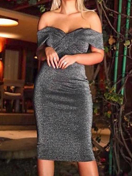 Gray Off Shoulder V-neck Sleeveless Bodycon Dress