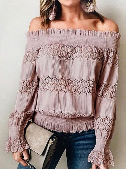 Light Pink Off Shoulder Long Sleeve Blouse