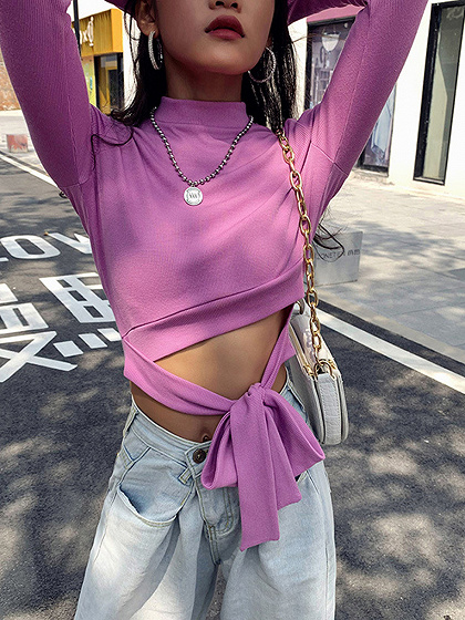 Pink Tie Front Long Sleeve Crop Top