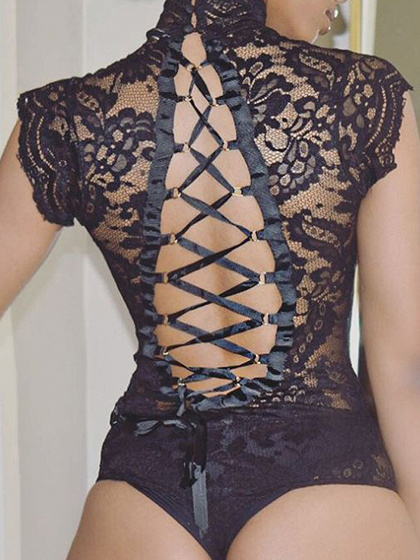 Black Lace Up Back Sleeveless Lace Bodysuit