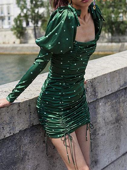 Green Square Neck Polka Dot Print Puff Sleeve Mini Dress