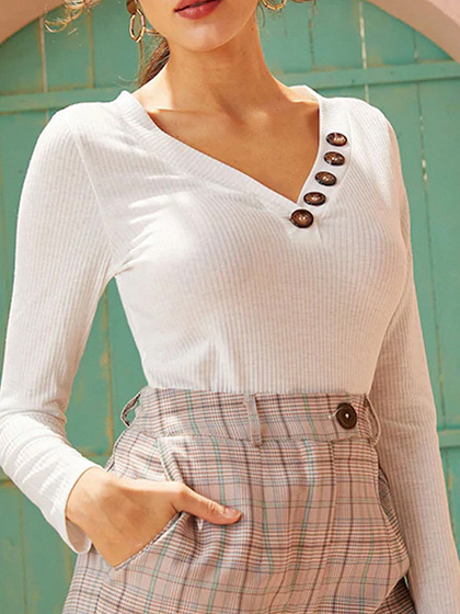 White V-neck Long Sleeve Knit Top