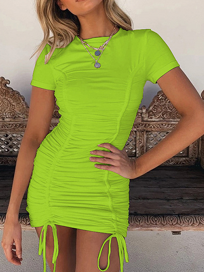Green Drawstring Detail Bodycon Mini Dress