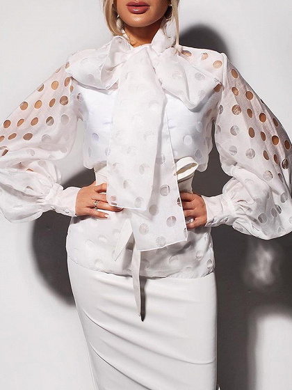 White Polka Dot Bow Tie Front Puff Sleeve Blouse