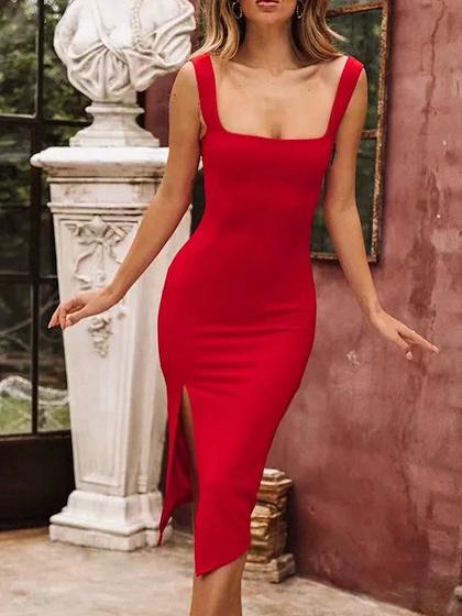 Red Split Side Bodycon Cami Dress