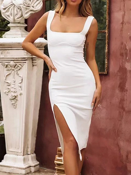 White Split Side Bodycon Cami Dress