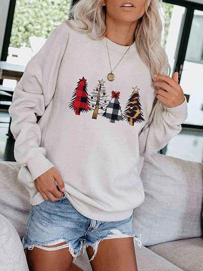 White Christmas Tree Long Sleeve Sweatshirt