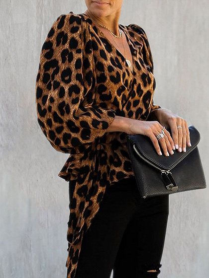 Brown V-neck Leopard Print Puff Sleeve Blouse